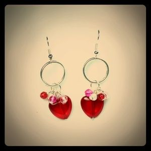 Jewelry - 💖✨Red Hearts Silver Loops Earrings✨💖